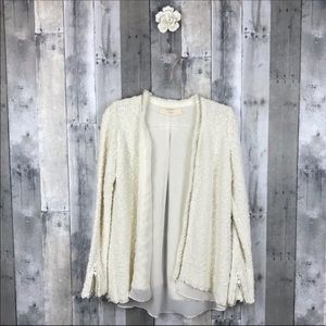 Zara Knit White Silver Metallic Thread Cardigan Lg
